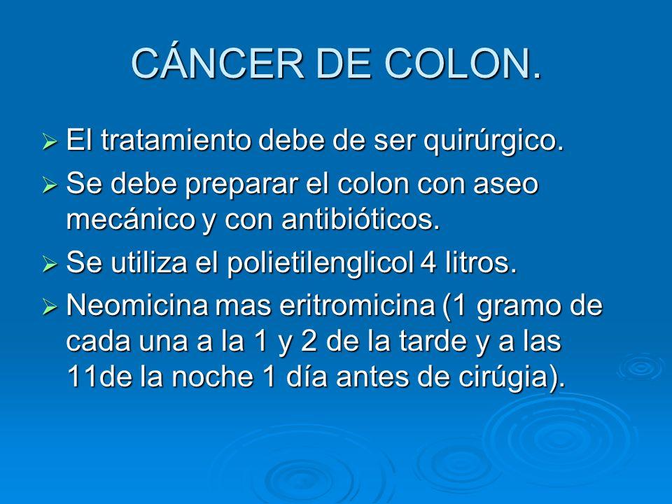 CÁNCER DE COLON. El tratamiento debe de ser quirúrgico.