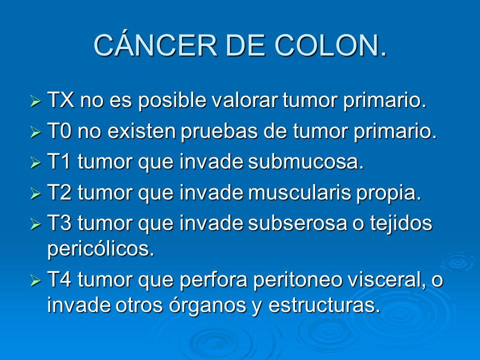 CÁNCER DE COLON. TX no es posible valorar tumor primario.