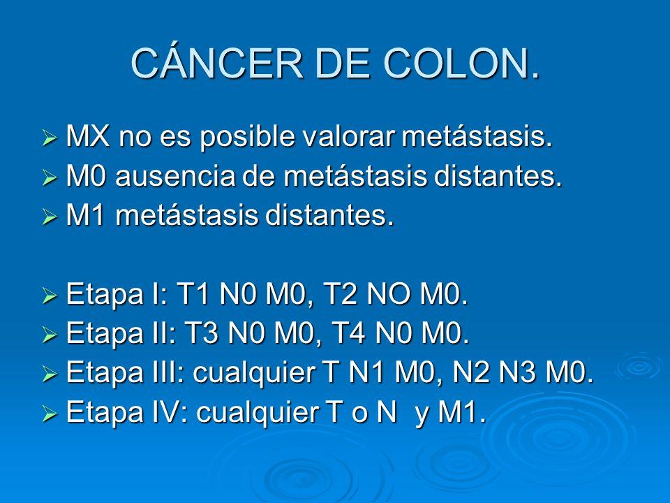 CÁNCER DE COLON. MX no es posible valorar metástasis.