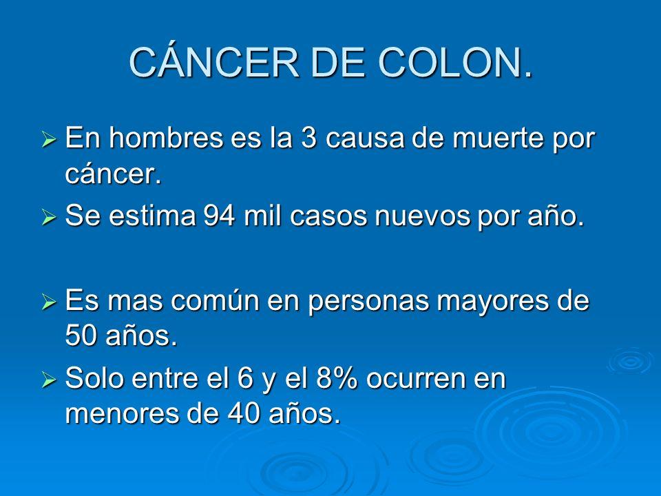 CÁNCER DE COLON. En hombres es la 3 causa de muerte por cáncer.