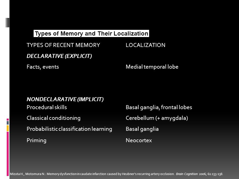 Types of Memory and Their Localization TYPES OF RECENT MEMORY