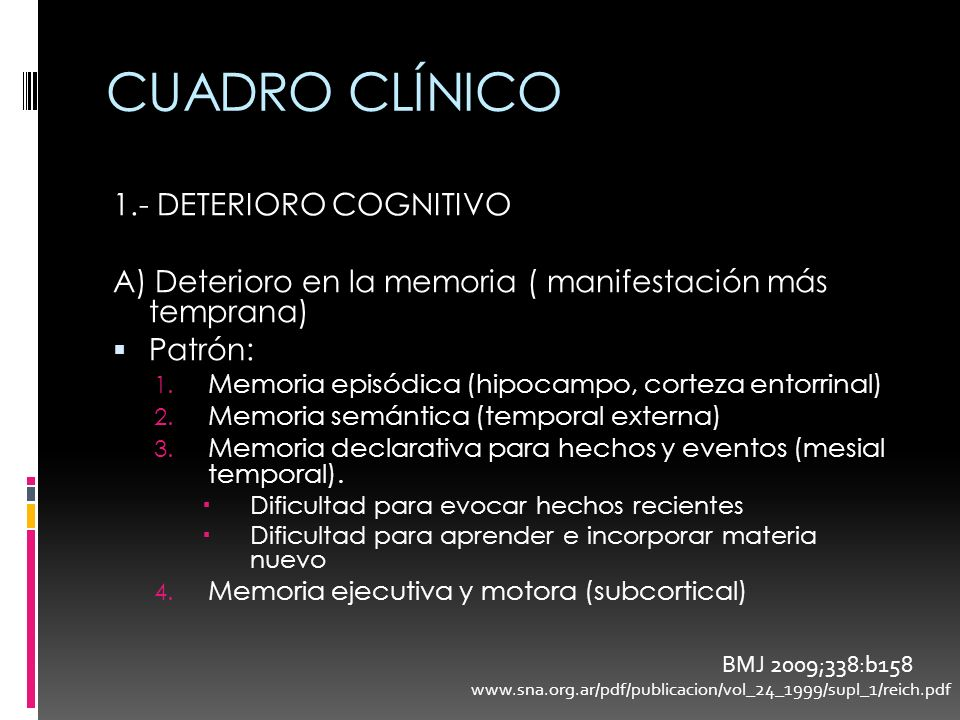 CUADRO CLÍNICO 1.- DETERIORO COGNITIVO