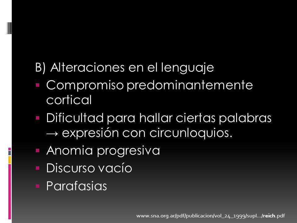 B) Alteraciones en el lenguaje Compromiso predominantemente cortical