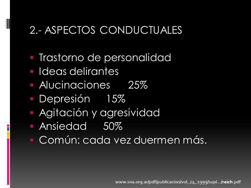 2.- ASPECTOS CONDUCTUALES Trastorno de personalidad Ideas delirantes