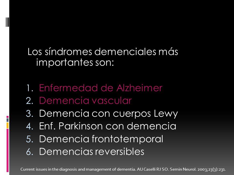 Los síndromes demenciales más importantes son: