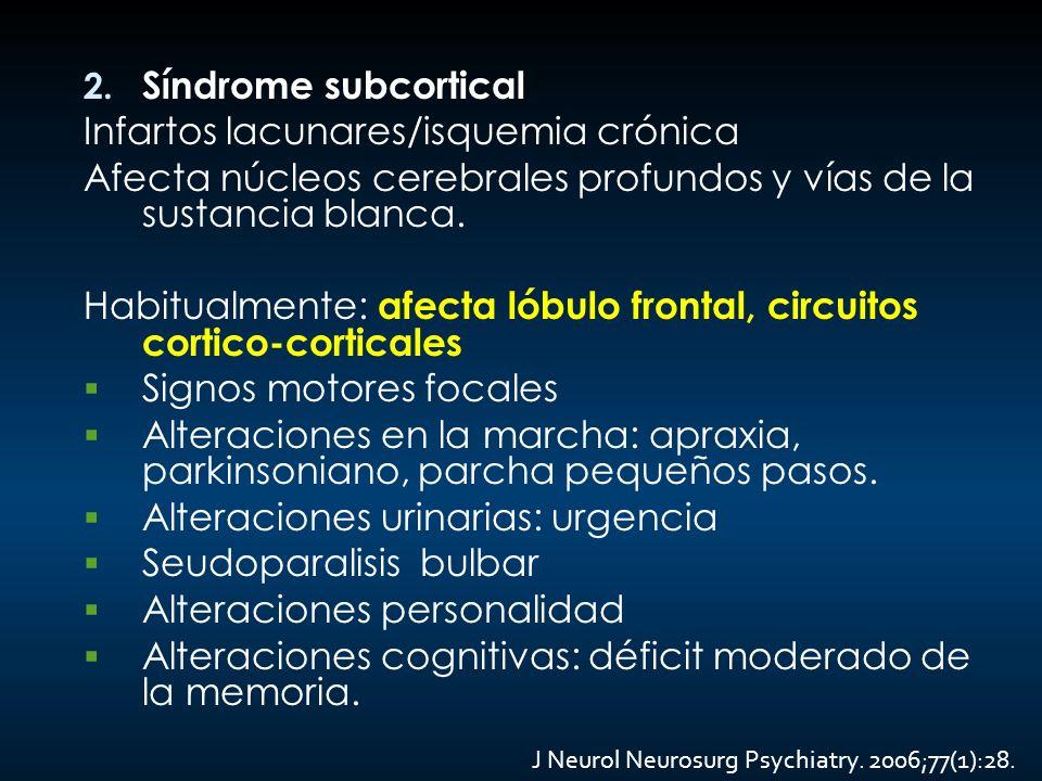 Infartos lacunares/isquemia crónica