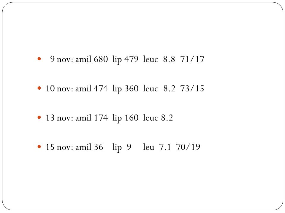 9 nov: amil 680 lip 479 leuc 8.8 71/17 10 nov: amil 474 lip 360 leuc 8.2 73/15. 13 nov: amil 174 lip 160 leuc 8.2.