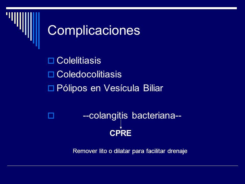 Complicaciones Colelitiasis Coledocolitiasis