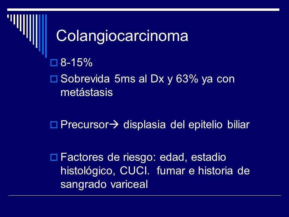 Colangiocarcinoma 8-15% Sobrevida 5ms al Dx y 63% ya con metástasis
