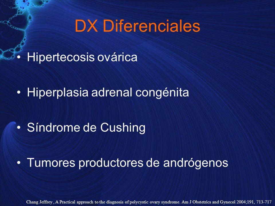 DX Diferenciales Hipertecosis ovárica Hiperplasia adrenal congénita