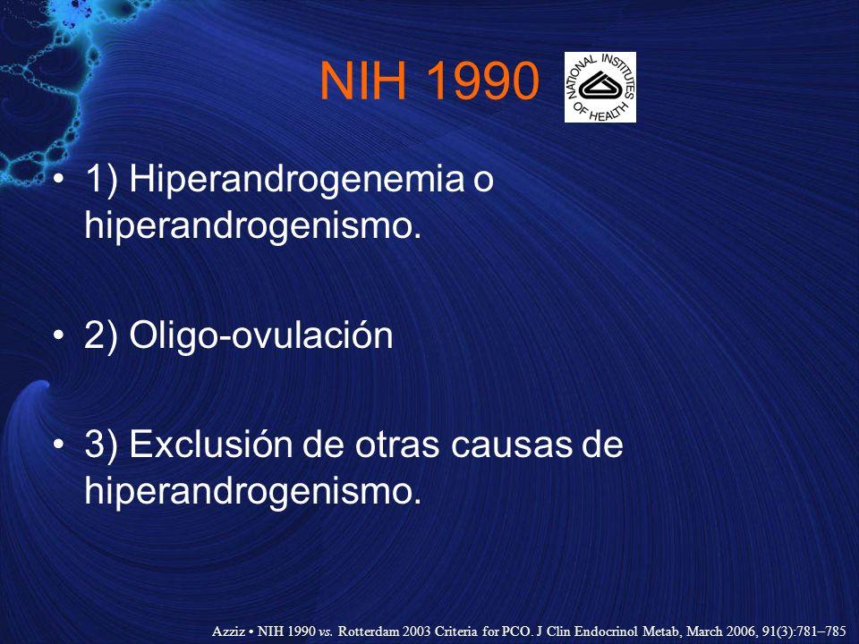 NIH 1990 1) Hiperandrogenemia o hiperandrogenismo. 2) Oligo-ovulación