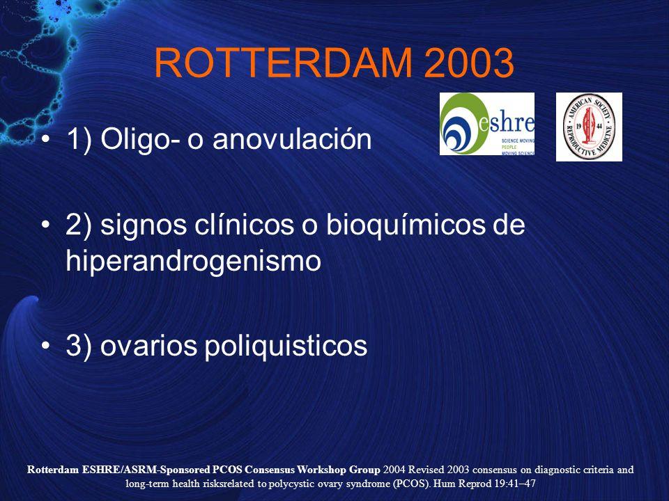 ROTTERDAM 2003 1) Oligo- o anovulación