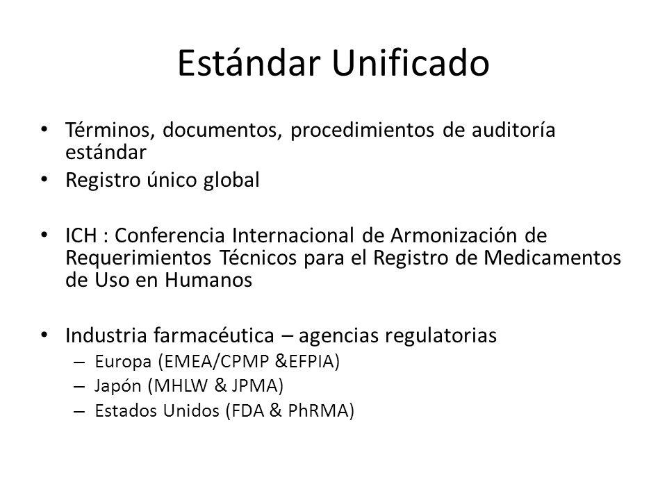 Estándar Unificado Términos, documentos, procedimientos de auditoría estándar. Registro único global.