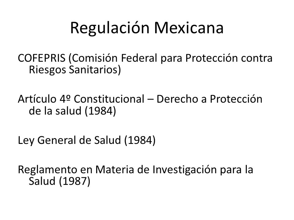 Regulación Mexicana