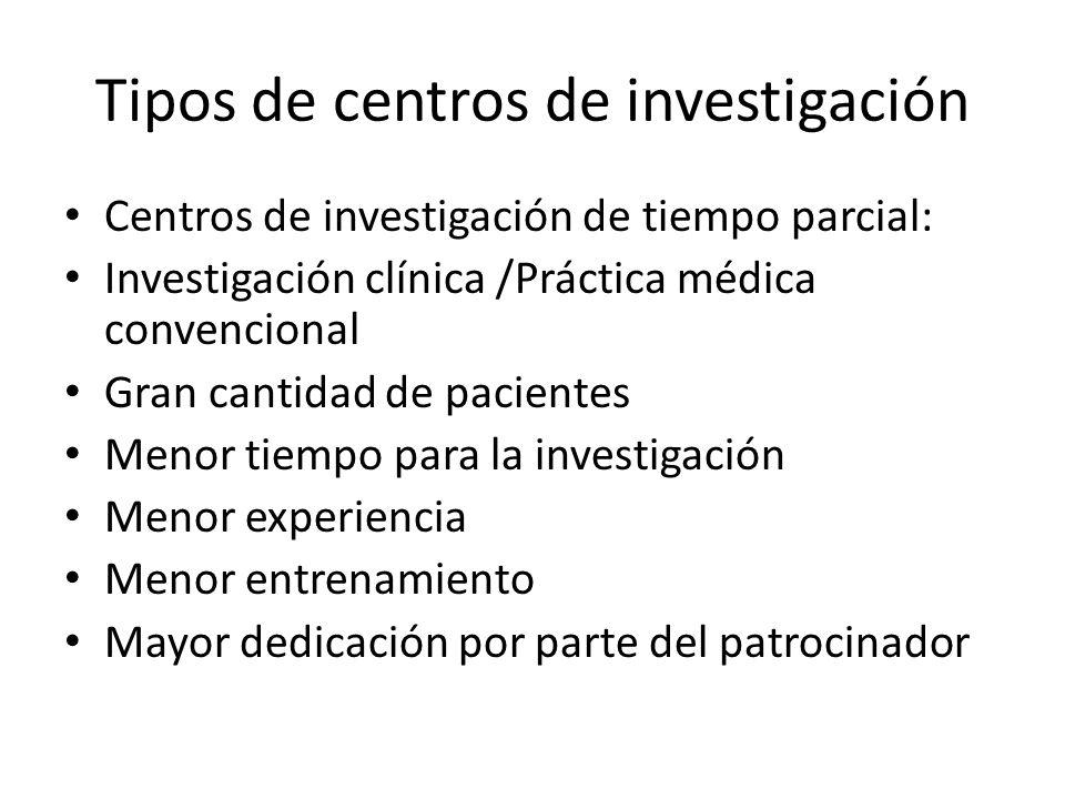 Tipos de centros de investigación