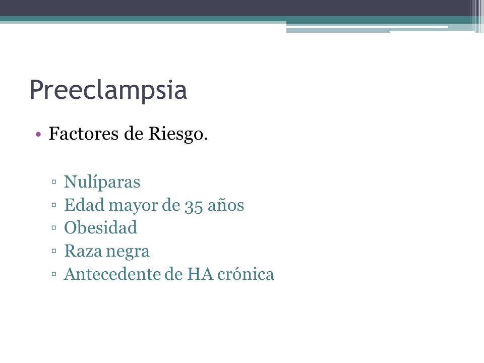 Preeclampsia Factores de Riesgo. Nulíparas Edad mayor de 35 años