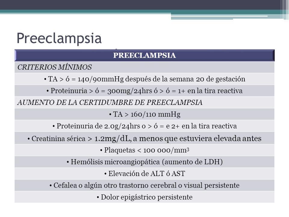 Preeclampsia Criterios Diagnósticos