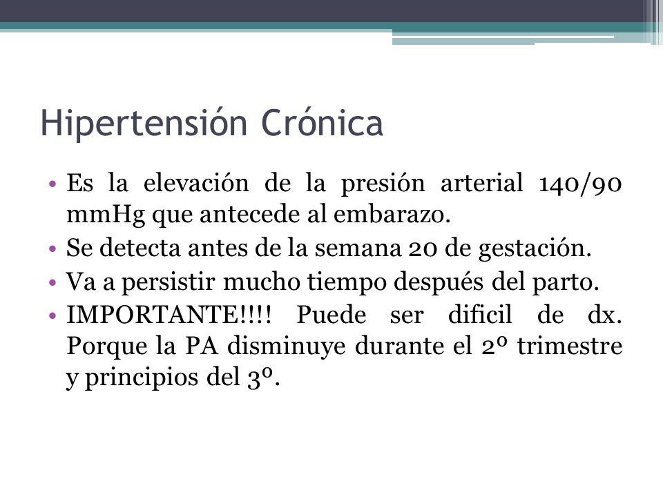 Hipertensión Crónica Es la elevación de la presión arterial 140/90 mmHg que antecede al embarazo. Se detecta antes de la semana 20 de gestación.