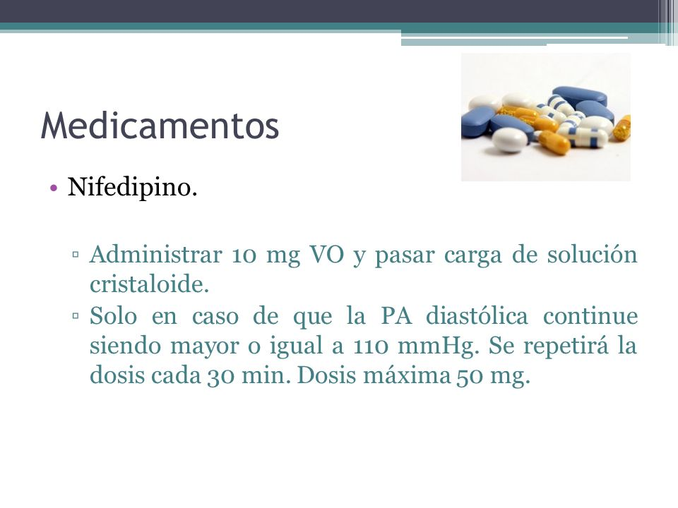 Medicamentos Nifedipino.