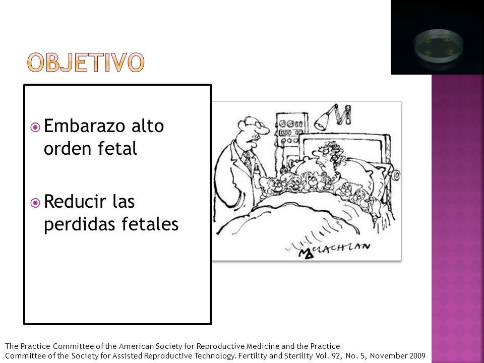 Objetivo Embarazo alto orden fetal Reducir las perdidas fetales