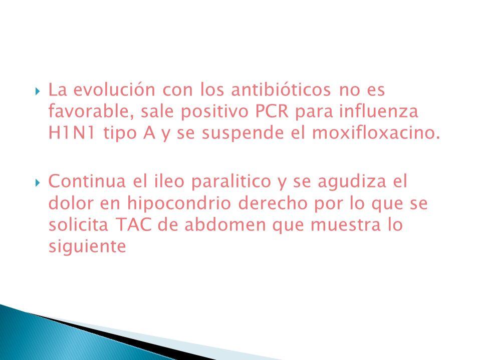 La evolución con los antibióticos no es favorable, sale positivo PCR para influenza H1N1 tipo A y se suspende el moxifloxacino.