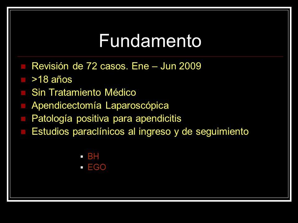 Fundamento Revisión de 72 casos. Ene – Jun 2009 >18 años