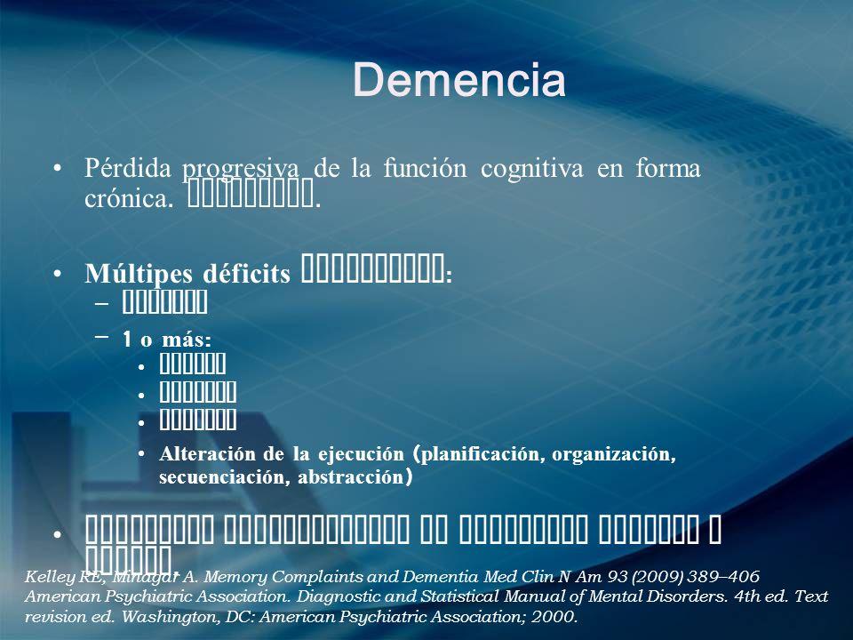 Demencia Pérdida progresiva de la función cognitiva en forma crónica. Adquirida. Múltipes déficits cognitivos: