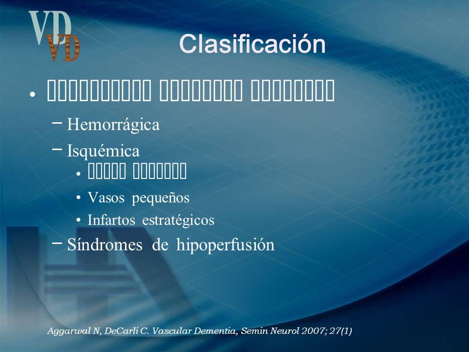 Clasificación VD Enfermedad vascular cerebral Hemorrágica Isquémica