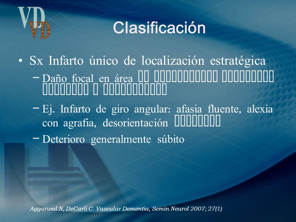 Clasificación VD Sx Infarto único de localización estratégica