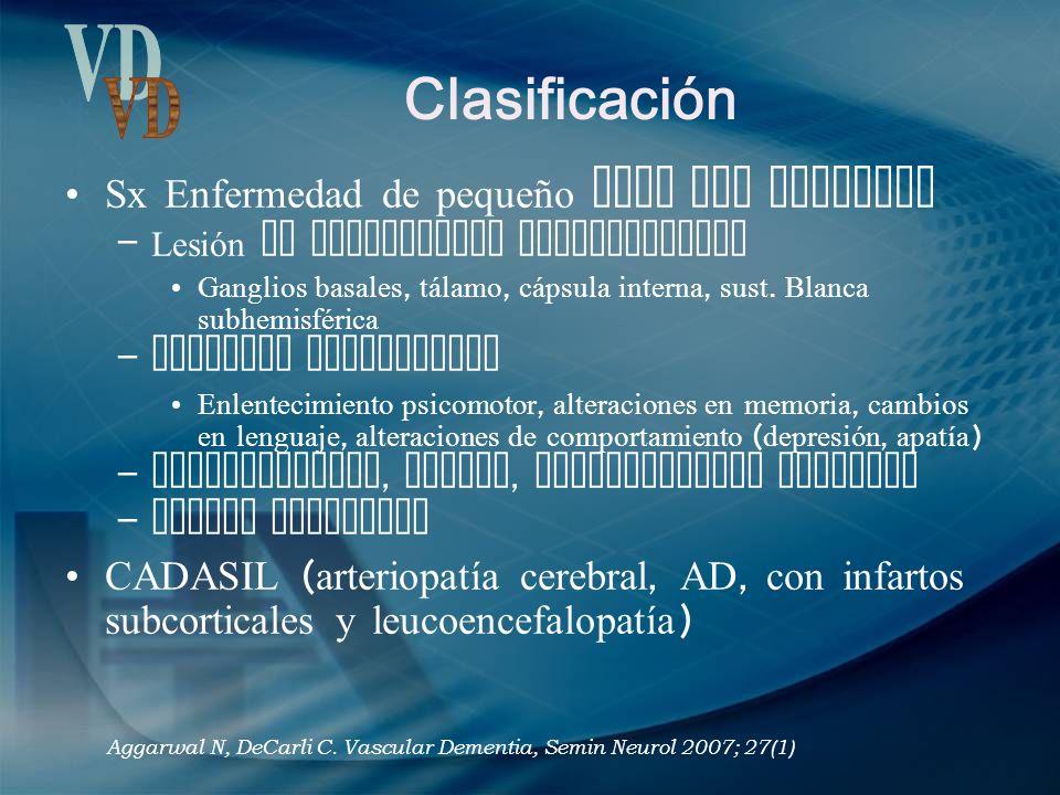 Clasificación VD Sx Enfermedad de pequeño vaso con demencia