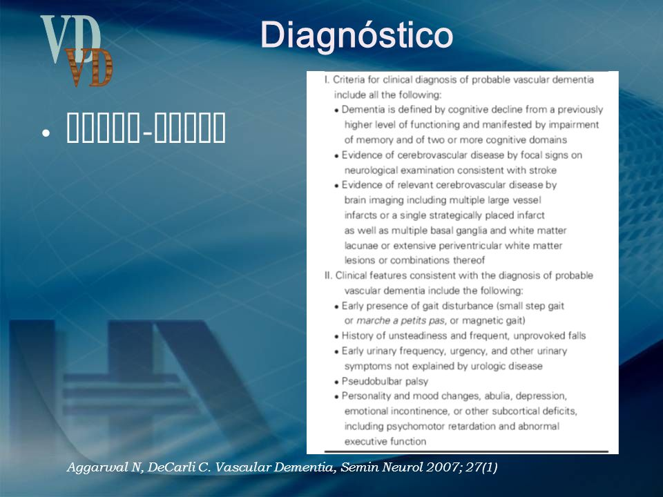Diagnóstico VD NINDS-AIREN