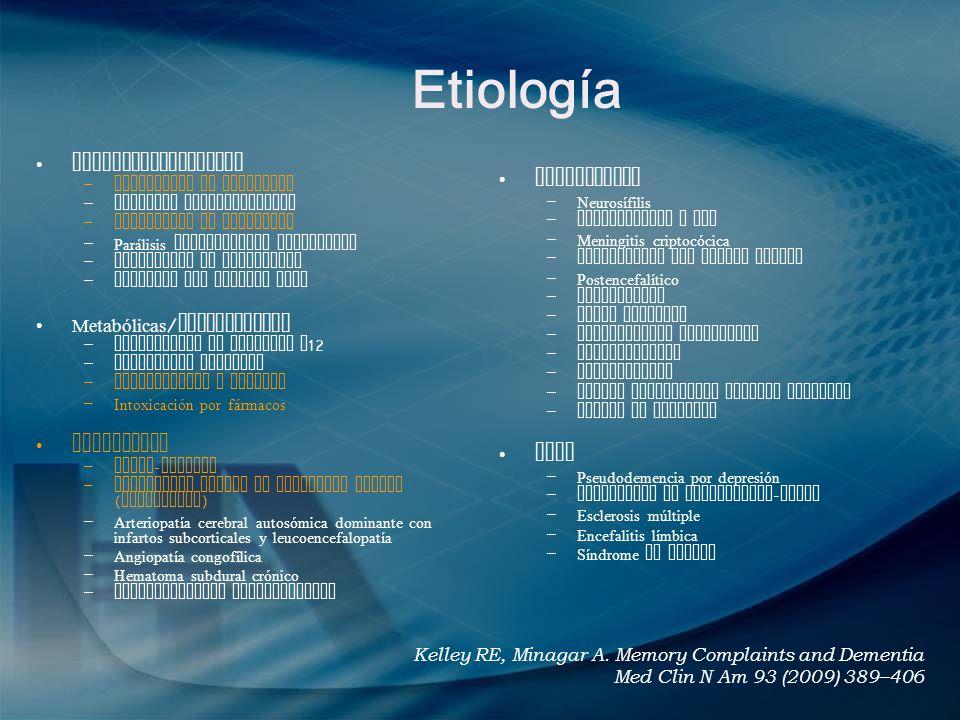 Etiología Neurodegenerativas Infecciosas Metabólicas/deficiencias