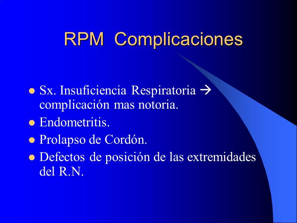 RPM Complicaciones Sx. Insuficiencia Respiratoria  complicación mas notoria. Endometritis. Prolapso de Cordón.