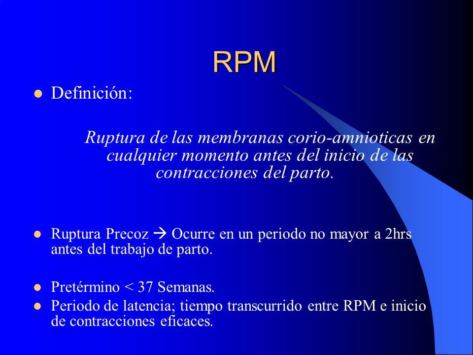 RPM Definición: Ruptura de las membranas corio-amnioticas en cualquier momento antes del inicio de las contracciones del parto.