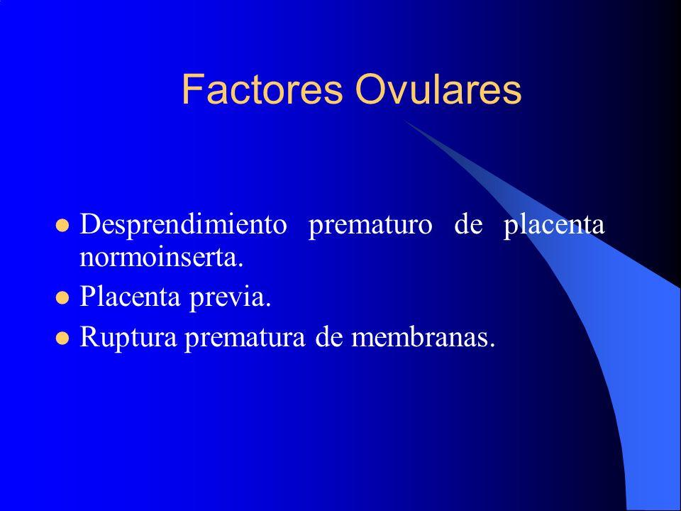 Factores Ovulares Desprendimiento prematuro de placenta normoinserta.