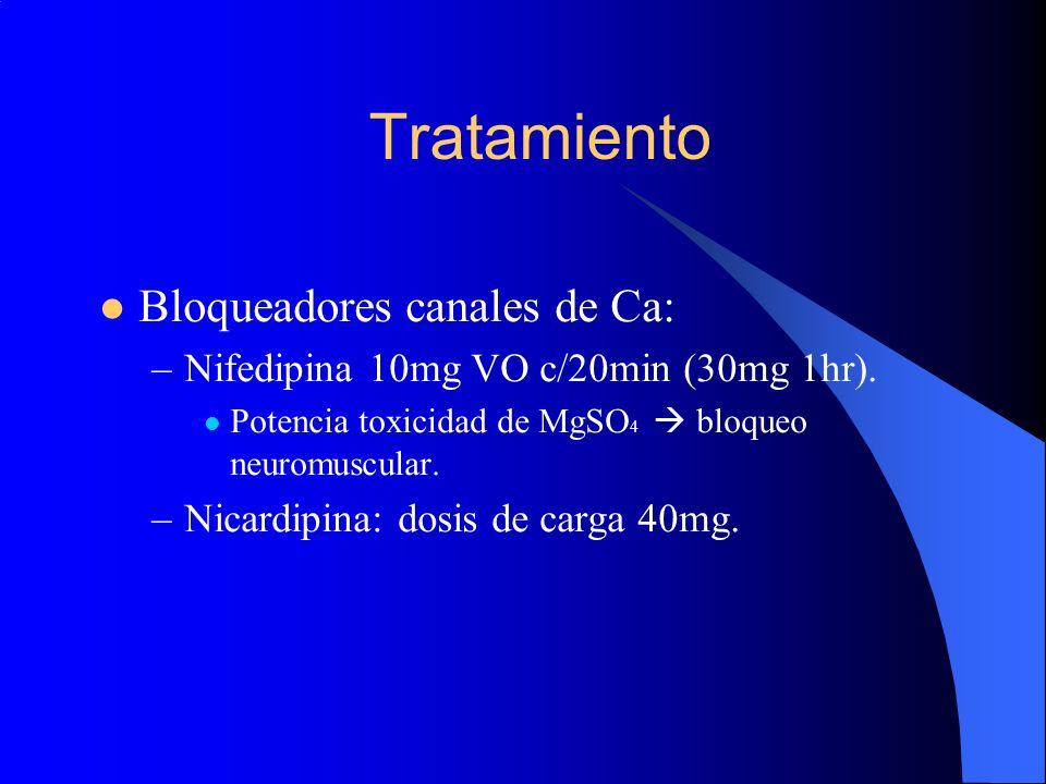 Tratamiento Bloqueadores canales de Ca:
