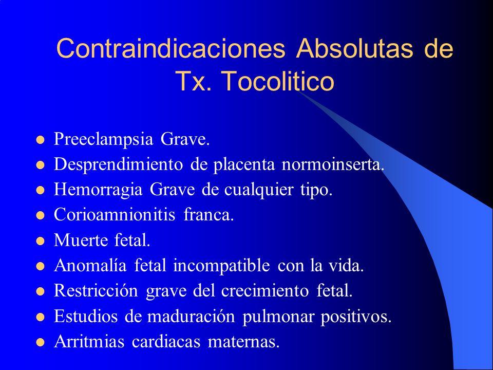 Contraindicaciones Absolutas de Tx. Tocolitico