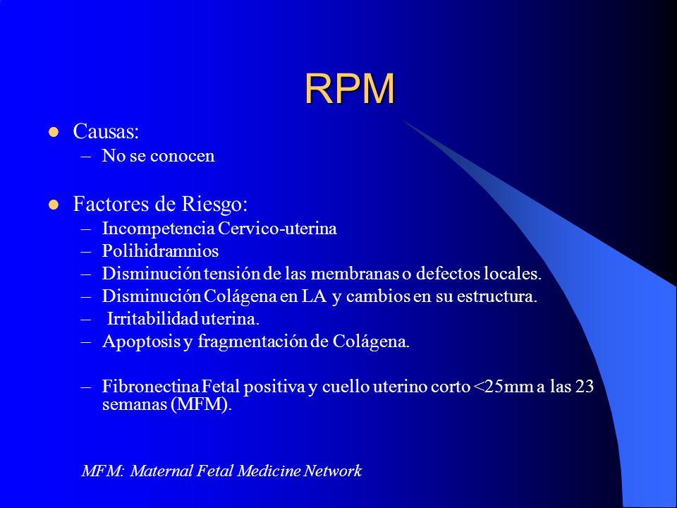 RPM Causas: Factores de Riesgo: No se conocen