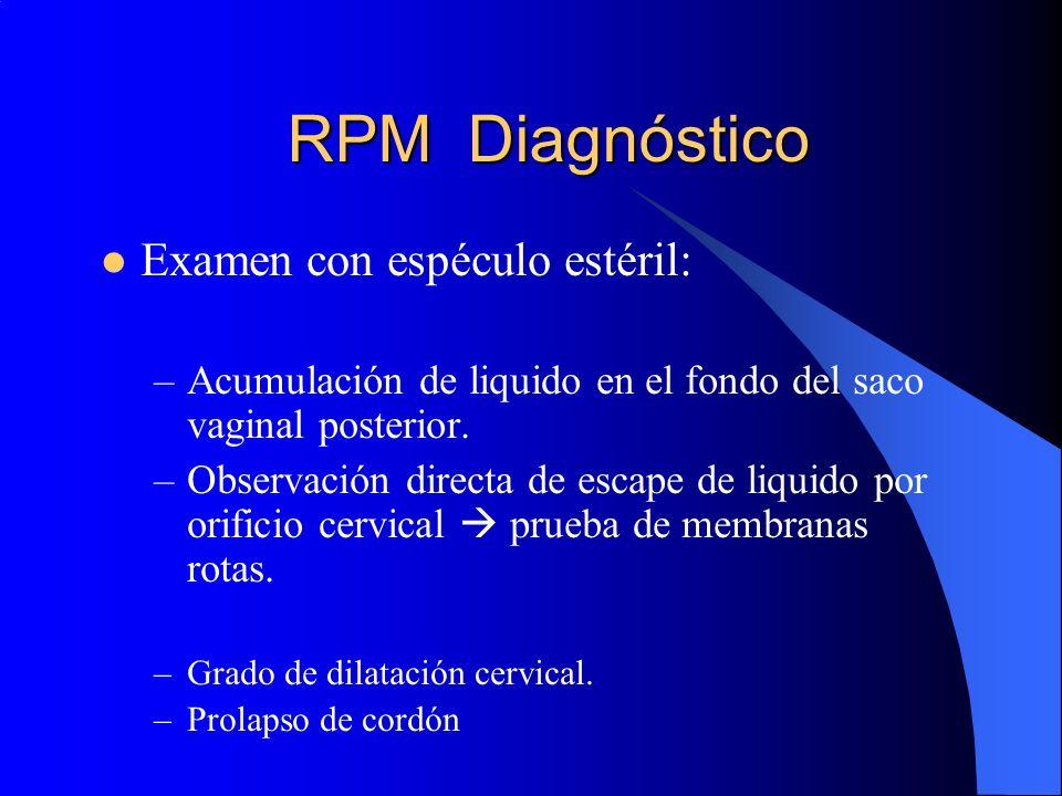 RPM Diagnóstico Examen con espéculo estéril:
