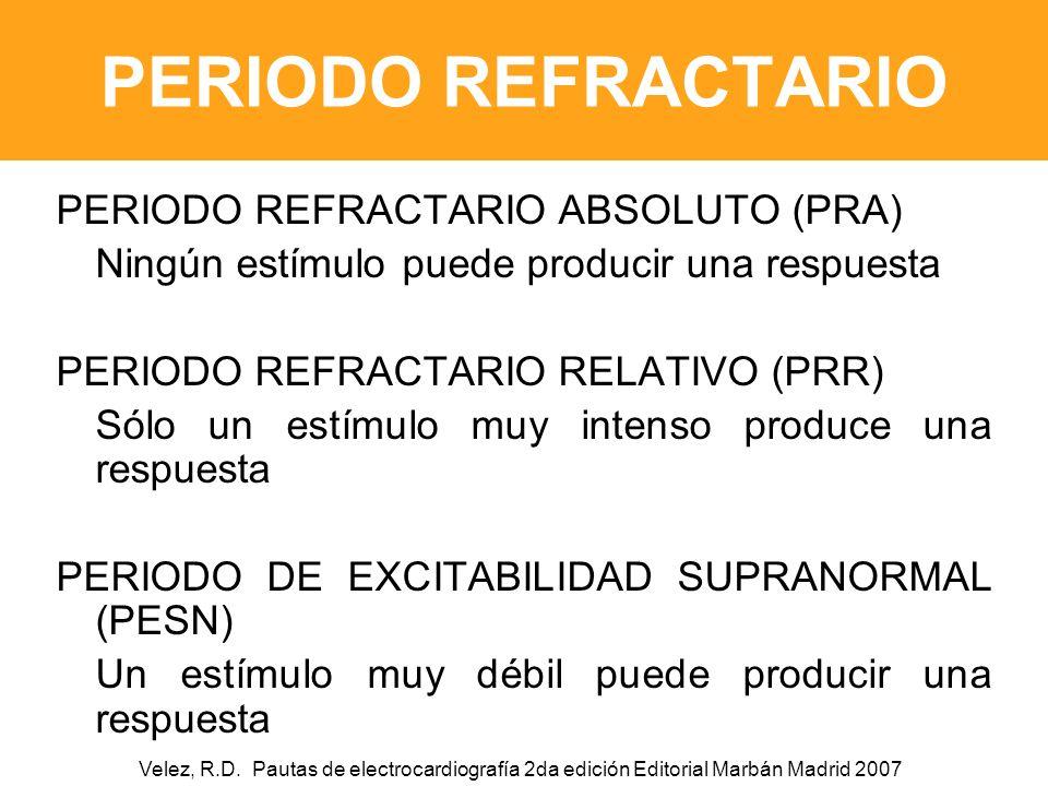 PERIODO REFRACTARIO PERIODO REFRACTARIO ABSOLUTO (PRA)