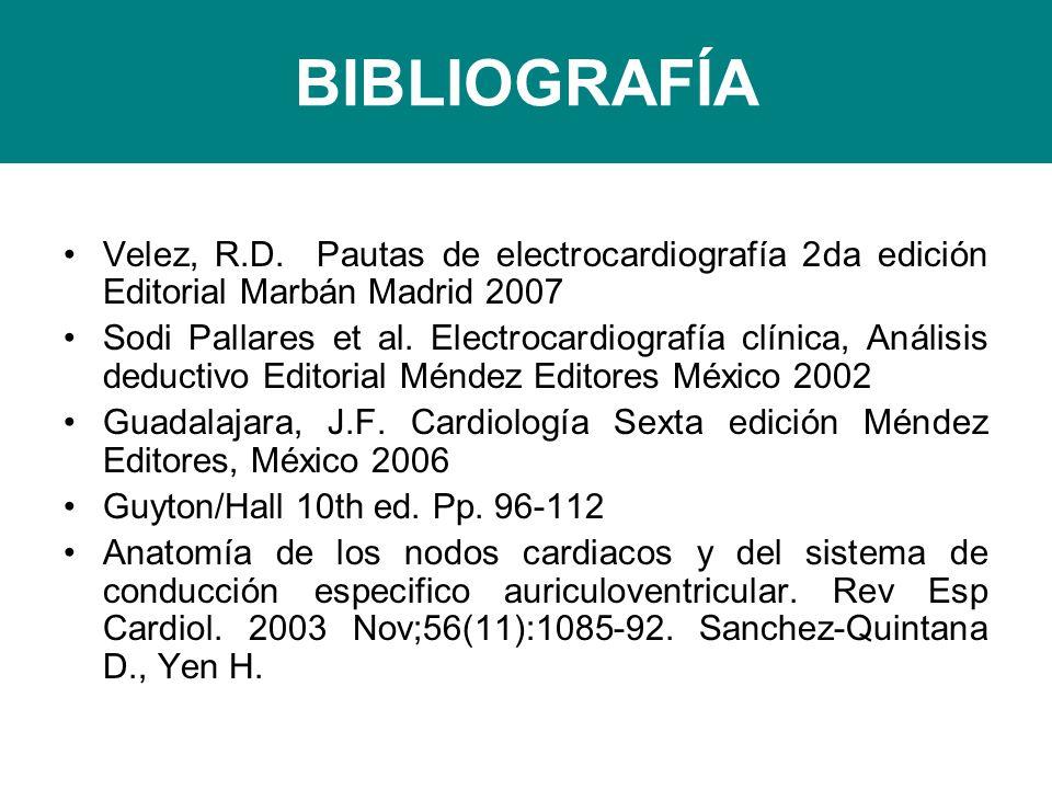 BIBLIOGRAFÍA Velez, R.D. Pautas de electrocardiografía 2da edición Editorial Marbán Madrid 2007.