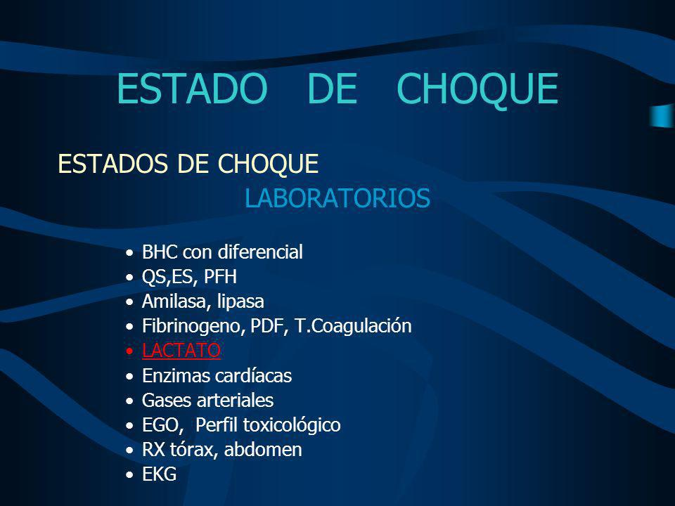 ESTADO DE CHOQUE ESTADOS DE CHOQUE LABORATORIOS BHC con diferencial