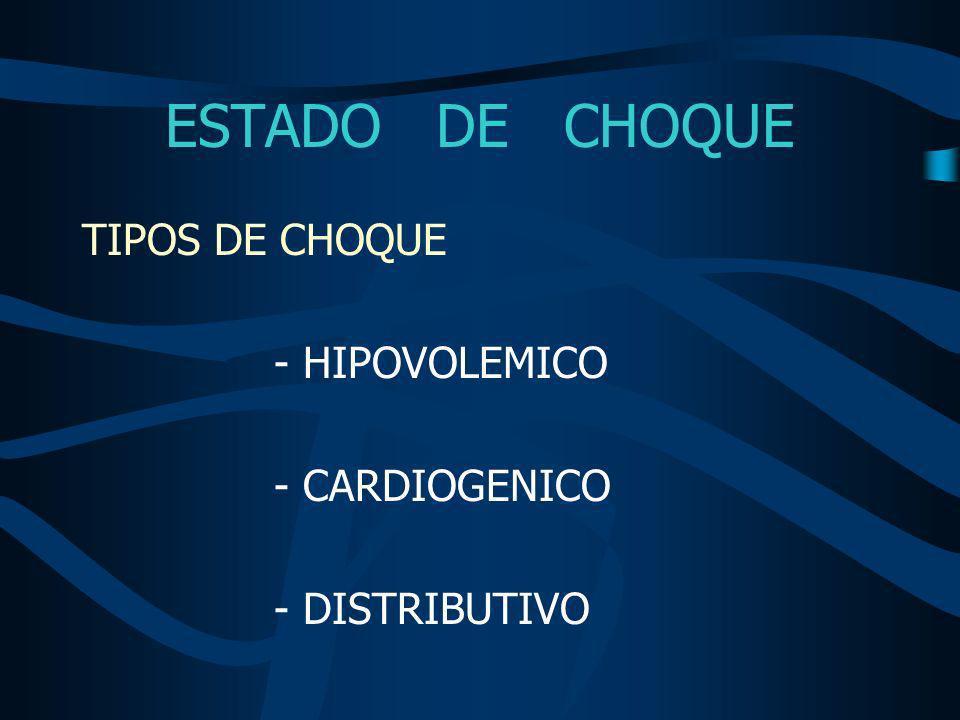 ESTADO DE CHOQUE TIPOS DE CHOQUE - HIPOVOLEMICO - CARDIOGENICO