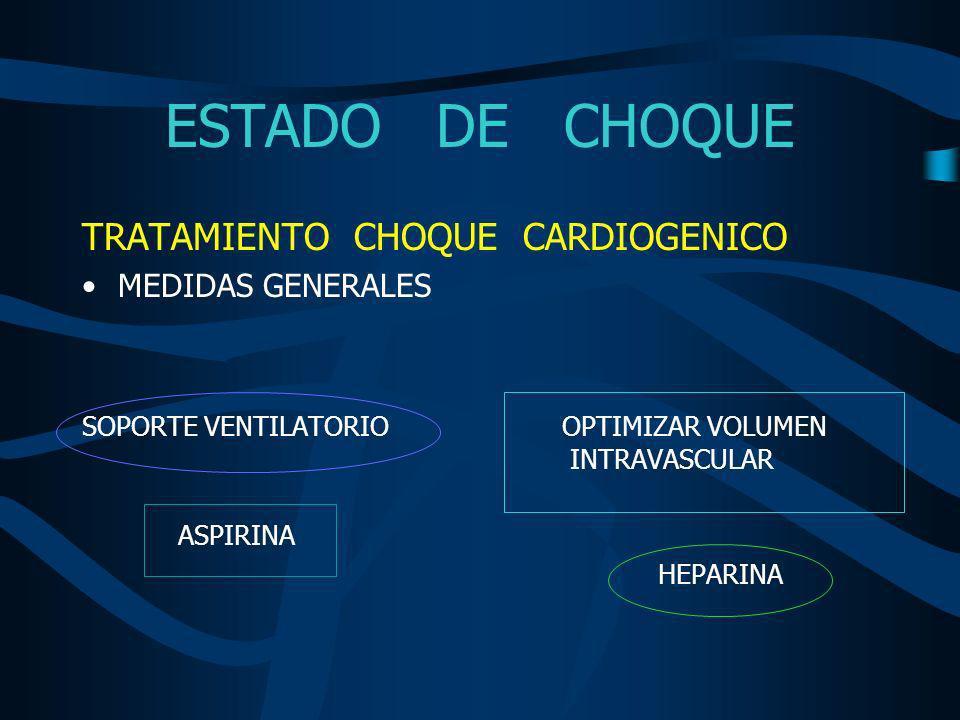 ESTADO DE CHOQUE TRATAMIENTO CHOQUE CARDIOGENICO MEDIDAS GENERALES