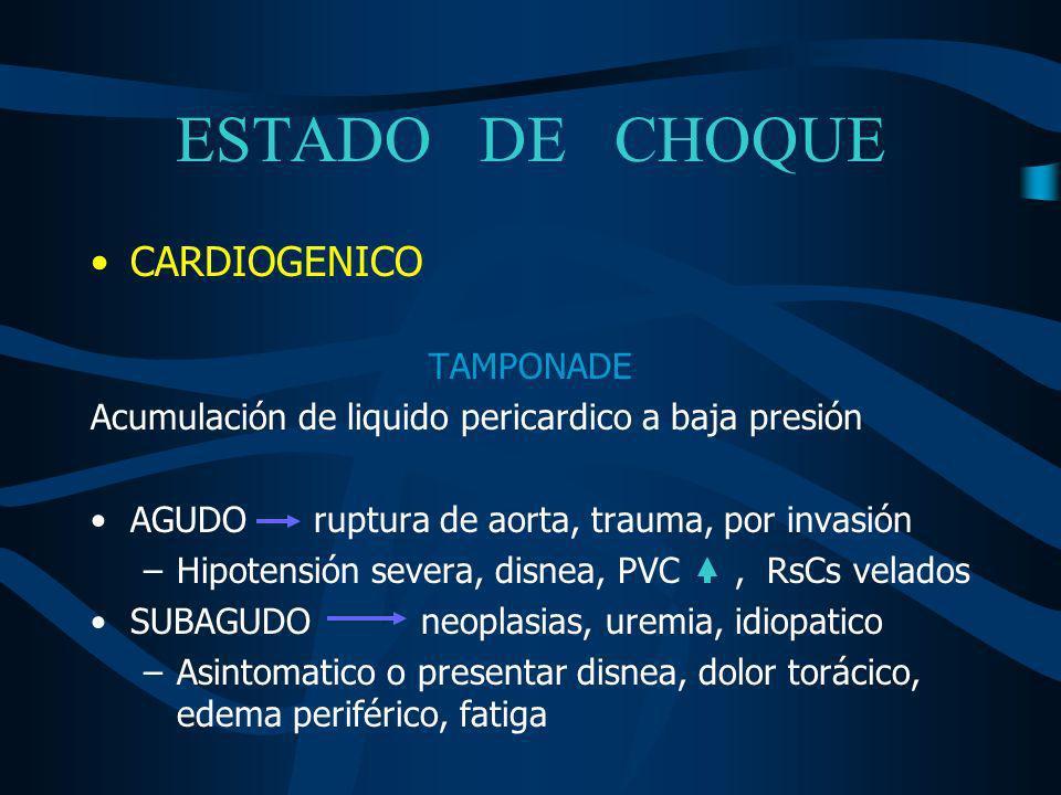 ESTADO DE CHOQUE CARDIOGENICO TAMPONADE