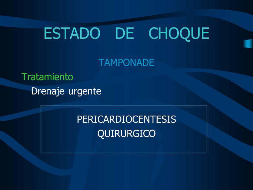 ESTADO DE CHOQUE TAMPONADE Tratamiento Drenaje urgente
