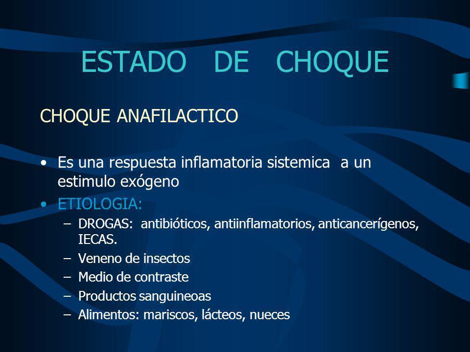 ESTADO DE CHOQUE CHOQUE ANAFILACTICO