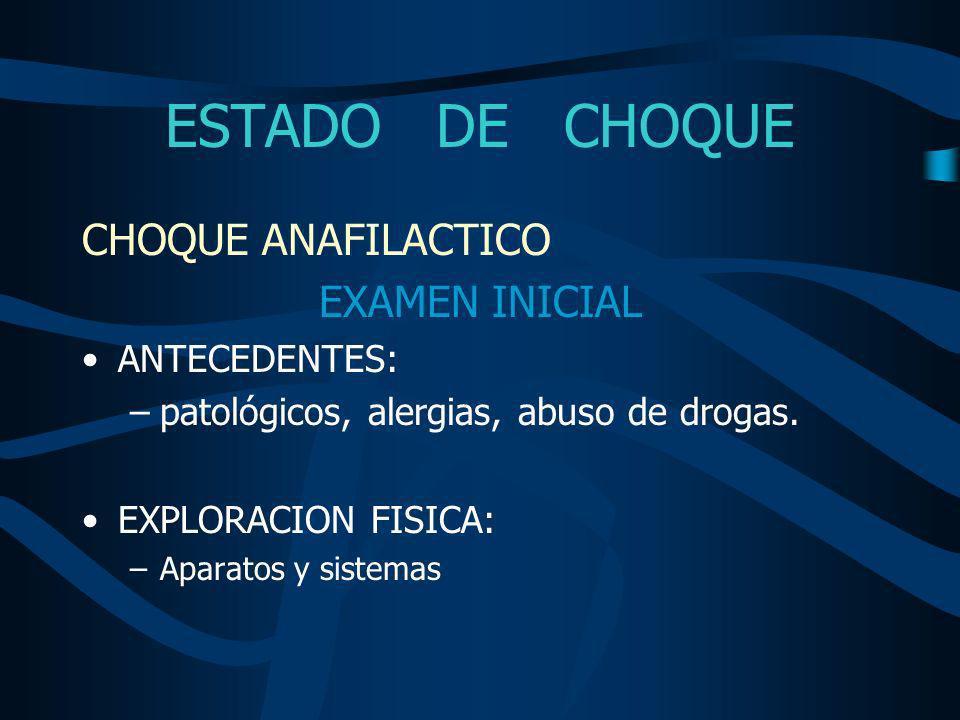 ESTADO DE CHOQUE CHOQUE ANAFILACTICO EXAMEN INICIAL ANTECEDENTES: