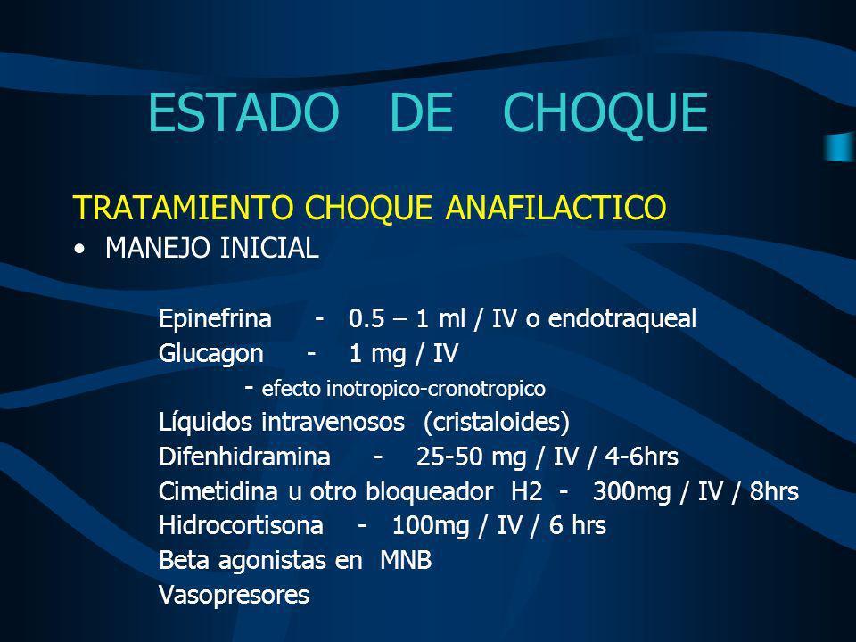 ESTADO DE CHOQUE TRATAMIENTO CHOQUE ANAFILACTICO MANEJO INICIAL