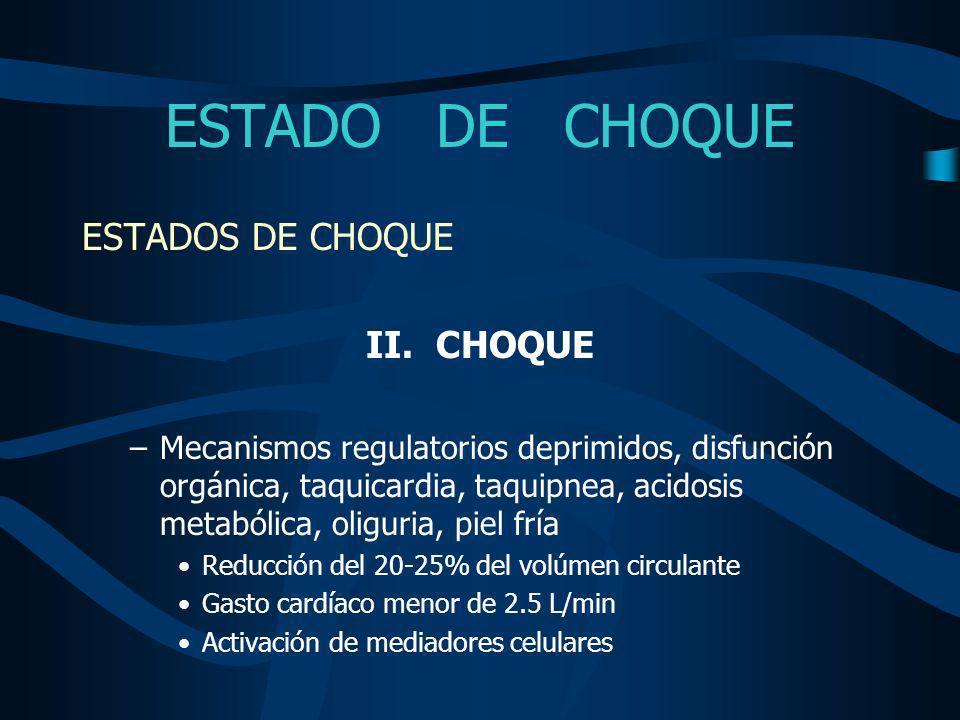 ESTADO DE CHOQUE ESTADOS DE CHOQUE II. CHOQUE